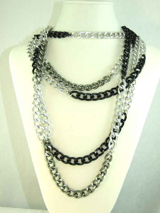 Long Gunmetal Black Silver Chain